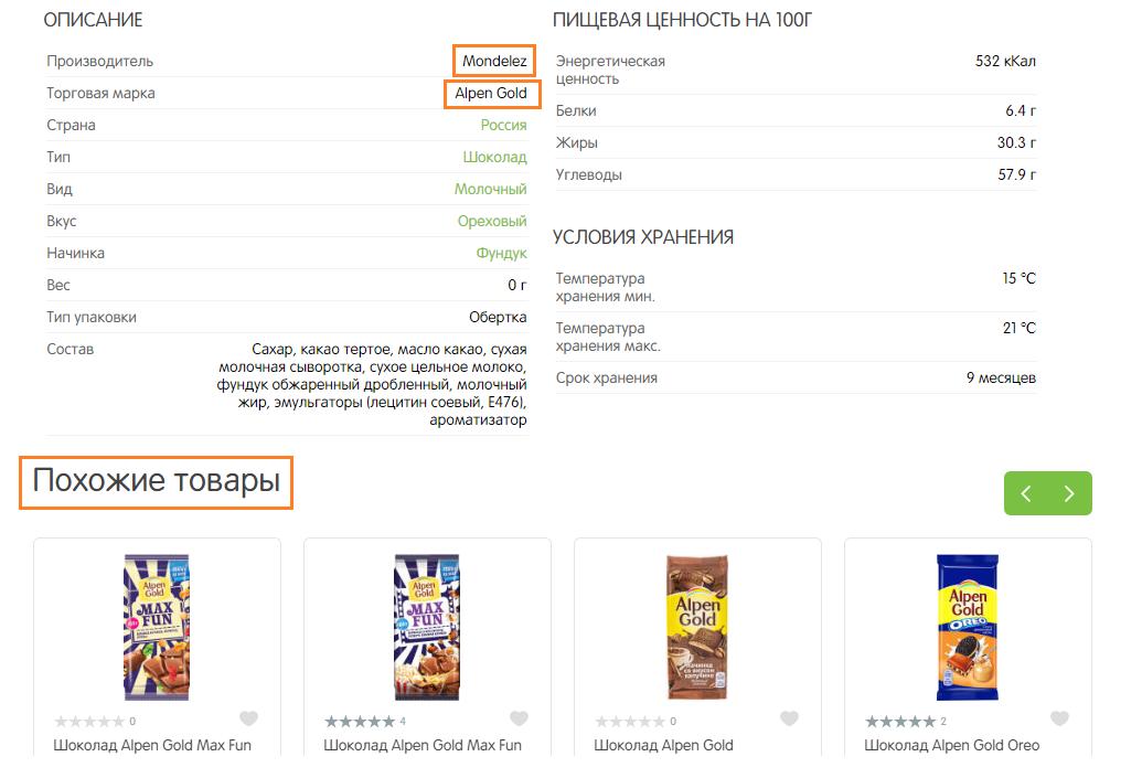 Парсинг производителя и торговой марки в интернет магазине ПЕРЕКРЕСТОК