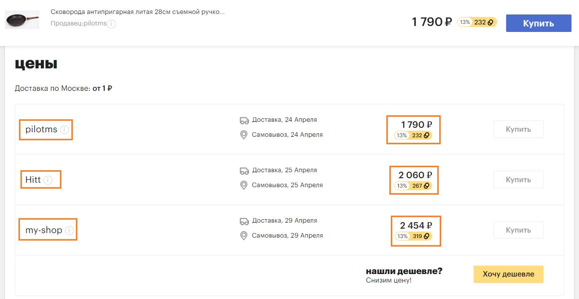 Пример парсинга цен и продавцов на маркетплейсе Goods